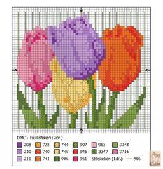 Como hacer bordados de tulipanes en punto de cruz07