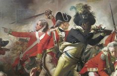 "Black servant Pompey with rifle. From the ""Death of Major Peirson""- 1783 large oil painting by John Singleton Copley depicting the death of British Major Francis Peirson at the Battle of Jersey on 6 January 1781, during the Revolutionary War. Pompey is here shown avenging the death of Peirson, though the reality is unknown. Black soldiers however were serving the British at the time, former slaves promised freedom if they fought against their Patriot masters."
