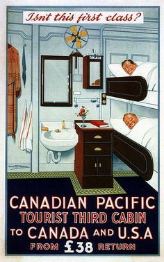 Alick Ritchie. Canadian Pacific Tourist Third Cabin. 1925 (pinned by www.redwoodclassics.net).