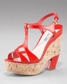 X0ZFH Miu Miu T-Strap Sandal