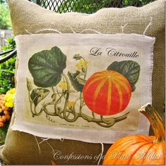 DIY: pillow using vintage image transfer (free transfer image on the page) from confessionsofaplateaddict.blogspot