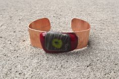 Red and Green Glass Copper Bracelet cuff by PiecesofhomeMosaics, $25.00
