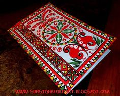 """Northern Russia folk art """"Puchuz"""" painting style. Painter greeting card."""