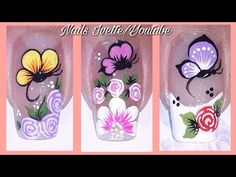 Merry Christmas Gif, Manicure, Flower Nail Designs, Cute Animal Photos, Flower Nails, Girly Things, Lily, Nail Art, Flowers