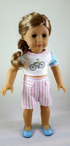 American Girl Doll Outfit: Bike Cropped Top & Striped Shorts by ILuvmCreations on Etsy American Girl Crafts, American Girl Clothes, Girl Doll Clothes, Doll Clothes Patterns, American Dolls, Girl Clothing, Doll Crafts, Diy Doll, Ag Dolls