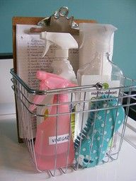 Keep up with cleaning supplies and their uses by having a storage bin to keep it all together! Great for the bathroom!