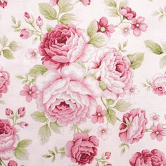 Cotton quilt fabric Symphony Rose / Pink large roses by Anna Fishkin sur aBirdonMyHead / Tissu coton à courtepointe Symphonie Rose / Grosses roses roses par Anna Fishkin sur aBirdOnMyHead