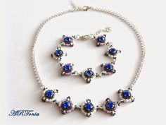 beaded,beadwork,biloba,beaded set,biloba bijoux,swarovski set,beaded necklace and bracelet
