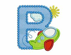Airplane Letter B Applique Embroidery Design for by EmbroideryLand