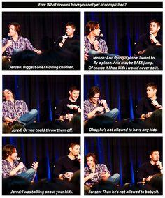 Why Jensen said Jared wasn't allowed to babysit his children. <3 #TigerBaby #SupernaturalCast #J2
