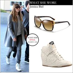 WHAT SHE WORE: Jessica Biel in white Nike high top wedge sneakers with oversized brown sunglasses at LAX on February 16 ~ I want her style -...