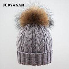 33.94$  Buy here - http://viagd.justgood.pw/vig/item.php?t=w9wnfgd2916 - Winter Colorful Snow Caps Wool Knitted Beanie Hat With Raccoon Fur Pom Poms For