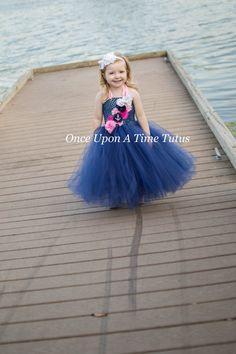 Nautical Flower Girl Tutu Dress  Spring by OnceUponATimeTuTus