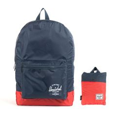 0407d0ec9218 Part of the Herschel Supply Packable Collection the Daypack backpack in the  Navy Blue and Red colorway keeps your load lightweight and compact.