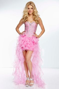 2014 High Low Prom Dress Beaded Bodice A Line With Ruffled Organza Skirt