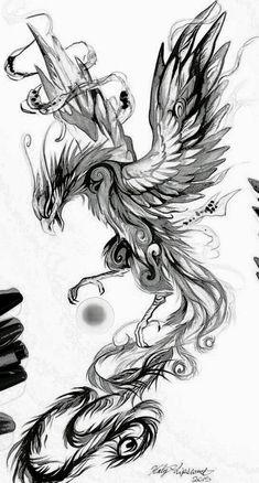 Phoenix sketch – tattoo – # phoenix # tattoo - Gave Ideer Tattoo Sketches, Tattoo Drawings, Body Art Tattoos, Small Tattoos, Sleeve Tattoos, Tatoos, Liverbird Tattoo, Crow Tattoos, Ear Tattoos