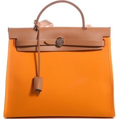 HERMES Toile Herbag Zip 31 PM Jaune d'Or ❤ liked on Polyvore featuring bags, handbags, genuine leather handbags, real leather handbags, hermes purse, real leather purses and hermes bag