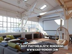 Easy render is best in giving best photorealistic rendering. Must visit website to more in details. Hanging Signs, Hanging Chair, 3d Rendering Services, Photorealistic Rendering, 3d Visualization, Loft Style, Visual Effects, Interior Design, Furniture