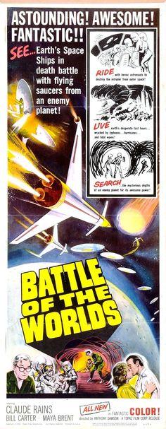 Battle of the Worlds (Il pianeta degli uomini spenti) (1961, Italy) || science fiction italian bmovie film poster Sf Movies, Cult Movies, Horror Movies, Classic Sci Fi Movies, Classic Tv, Claude Rains, Horror Posters, Movie Poster Art, Fantasy Movies
