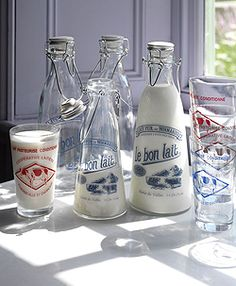 French Glass Milk Bottles - RE - Homes & Bargains - The latest clearance, discounts, sales, vouchers and outlets for the home Old Milk Bottles, Vintage Milk Bottles, Bottles And Jars, Glass Bottles, Mason Jars, Homemade Almond Milk, Brunch Table, French Country Style, Country Life