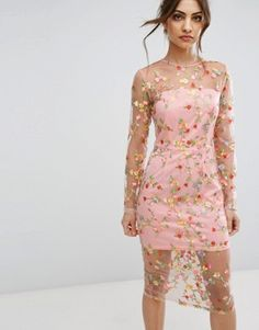Pretty Little Thing Embroidered Sheer Midi Dress Sheer Embroidered Dress, Sheer Dress, Bodycon Dress, Sexy Dresses, Dresses For Sale, Fashion Dresses, Party Dresses, Asos Mode, Blush Cocktail Dress