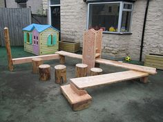 natural play equipment ~ interesting stuff on a dreary playground.
