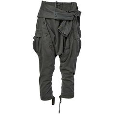Faith Connexion Drop-Crotch Cropped Trousers ($952) ❤ liked on Polyvore featuring pants, capris, green, drop crotch pants, cropped capri pants, cotton trousers, green pants and cropped pants