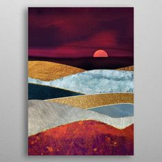 """Beautiful """"Crimson Sky"""" metal poster created by SpaceFrog Designs. Landscape Quilts, Landscape Art, Acrylic Painting Canvas, Canvas Art, Cool Artwork, Painting Inspiration, Diy Art, Watercolor Art, Poster Prints"""