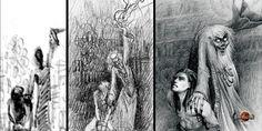 Les différentes étapes de la construction de l'illustration de la torture initiatique de Tahuetan par son maitre Toch Naz  #heroicfantasy #epicfantasy
