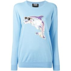 Markus Lupfer Sequin Dolphin Sweater ($341) ❤ liked on Polyvore featuring tops, sweaters, blue, markus lupfer sweater, sequin top, sequin sweater, blue sequin top and markus lupfer