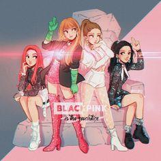obsessed with black pink 💖💖🖤🖤 - Blackpink Cartoon Meme, Cartoon Art, Chibi, Kpop Drawings, Cute Drawings, Memes Do Blackpink, Meme Meme, Die Revolution, Dog Tumblr