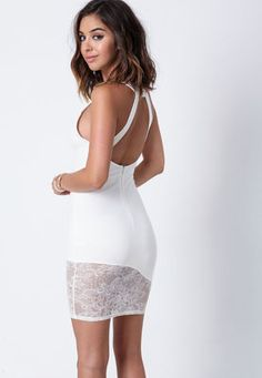Ivory Lace Cut Out Bodycon Dress,