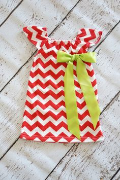 Christmas Chevron Dress with Green Bow  Baby by PoshPeanutKids, $20.00