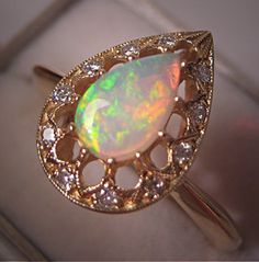 Estate Vintage Australian Opal Diamond Ring 14K Gold - Wedding Ring. $785.00, via Etsy.