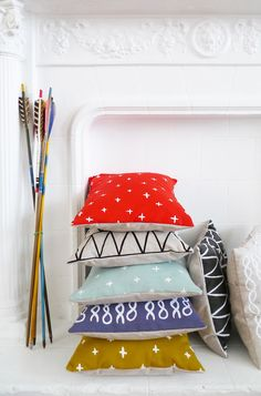 Poppy Red Diamonds Pillow - 13 x 13 in.. $40.00, via Etsy.