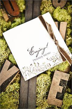 eco friendly wedding menu. Use recycled, biodegradable paper to create a beautiful menu.