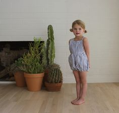 mabel playsuit - blue and white striped linen