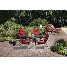 Mainstays Woodacre 10-Piece Patio Dining Set & Leisure Set Value Bundle, Red, Seats 6 $498 Walmart