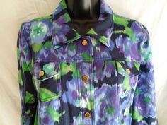 Isaac Mizrahi Live floral  jacket size LARGE snap front long sleeve #IsaacMizrahi #BasicJacket