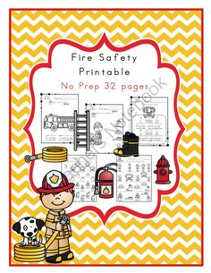 Fire Safety Printable No Prep from Preschool Printables on TeachersNotebook.com -  (35 pages)  - Tracing-coloring-Number recognition - and many more exercises in this printable