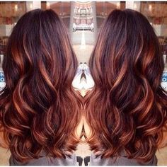 Dark Brown Hair with Caramel Highlights and Red Lowlights
