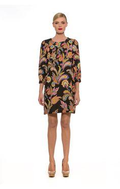 D2262- 3/4 Sleeve Paisley Shift Dress