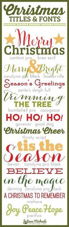 Christmas Titles, Fonts