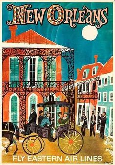 #Vintage Travel Poster - USA - New Orleans  #Travel Posters We cover the world over 220 countries, 26 languages and 120 currencies Hotel and Flight the best | http://travellingcollectionsgabriella.blogspot.com