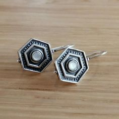 Hexagon Ivory and Silver Earrings Sterling Silver Earrings, Silver Rings, Personal Style, Ivory, Jewelry, Jewlery, Jewerly, Schmuck, Jewels