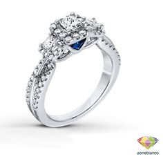 2.21 CT Princess Cut Sapphire & Diamond Engagement Ring in 14K White Gold Over #aonebianco #ThreeStoneEngagementRing