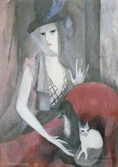 """Marie Laurencin (1883 - 1956) """"Femme au chien et au chat"""" 1916, Huile sur toile H. 100 cm ; L. 73 cm © Musée Marie Laurencin Nagano - Ken"""