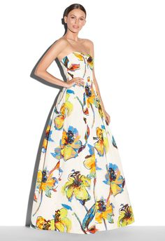 POP ART FLORAL PRINT AVA STRAPLESS GOWN - Just In | MILLY $1,100.00
