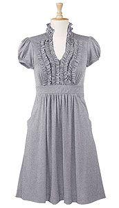 Ruffle front cotton knit dress  ProductID:CL0022283  Price:$ 54.95  Color:Melange gray