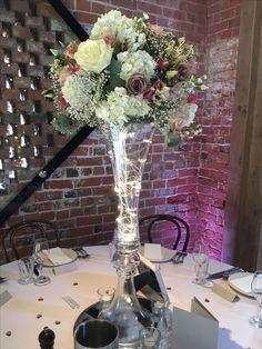 Tall vase display of #hydrangeas# roses #gypsophila and #Lisianthus     #love #weddings #elegantflowers #tallcentrepiece #pennyjohnsonflowers #warwickshireflorist #birminghamflorist